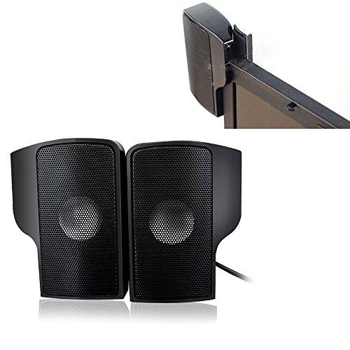 aokur portable mini usb laptop lautsprecher clip on stereo soundbar mit 3 5 mm klinke f r. Black Bedroom Furniture Sets. Home Design Ideas